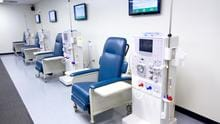 The Hemodialysis Skills Lab allows students to learn in a real-world dialysis treatment facility with Fresenius 2008K dialysis machines, cannulation arms, and blood collections chairs.