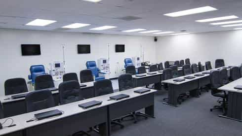 Stanbridge College classrooms are spacious and quiet, and are equipped with laptops at each station for individual student use.