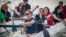 OT students utilize a canoeing activity in the Newport Bay Harbor to practice activity analysis and limb control to determine typical movement patterns.
